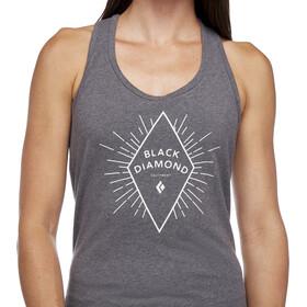Black Diamond Rays Tanktop Dames, charcoal heather